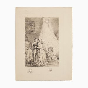 Embrace - Original Etching by Auguste Brouet - Early 20th Century Early 20th century
