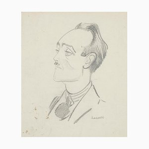 Portrait - Pencil on Paper by Willem Van Hasselt - Mid 20th Century Mid 20th Century