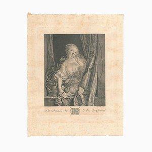 Gravure à l'Eau-Forte Originale par A. de Saint-Aubin - La Baiser Envoye - Milieu 18ème Siècle