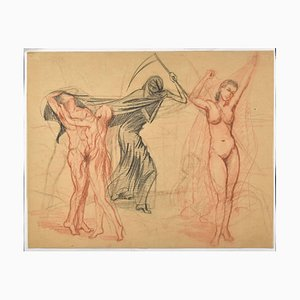 Death and Other Figures-Original Charcoal Drawing by Unknown French Master 1900 20th Century
