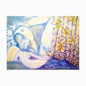 Liliac Nude - Original Tempera on Paper by Maurice Rouzée - 1940s 1940s