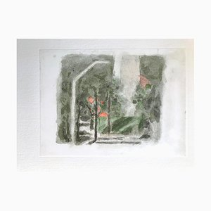 Paysage avec une Tache Rouge - Impression Offset Vintage d'après Giorgio Morandi - 1973 1973