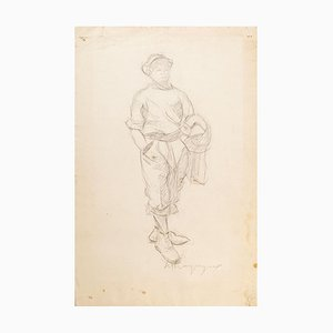 Walking Man - Original Drawing - Mid 20th Century Mid 20th Century