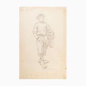Walking Man - Original Zeichnung - Mid 20th Century Mid 20th Century