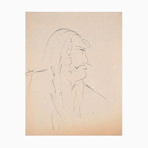 Man In Profile - Original Charcoal Drawing by Flor David - 1950s 1950s
