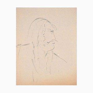 Man In Profile - Original Charcoal Zeichnung von Flor David - 1950s 1950s