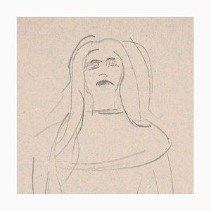 Woman - Original Charcoal Zeichnung von Flor David - 1950s 1950s