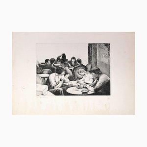 Personnes Attablées au Café - Etching and Drypoint by E. Bouchaud Mid 20th Century