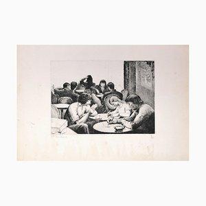 Personnes Attablées au Café - Gravure à l'Eau-Forte par E. Bouchaud Milieu 20ème Siècle