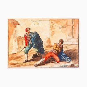 Customs of Trastevere (Rom) - Radierung von Bartolomeo Pinelli - 1819 1819