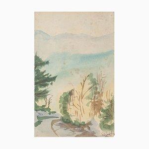 Paesaggio - Acquarello originale su carta di Jean Delpech - anni '60