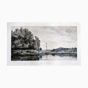 Bords de l'Oise, France - Original Etching by Maillard After Daubigny - 1860 ca. 1860 ca.