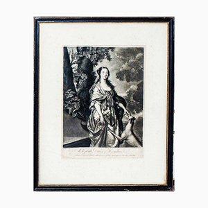 Elizabeth Duchess of Hamilton - Original Radierung von W. Hamilton - Ende 1700, spätes 18. Jahrhundert