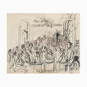 The Meeting - Original Pen and Watercolor- by Gustave Bourgogne - 1933 1933