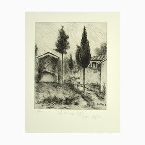Poggio a Caiano - Original Etching and Drypoint by A. Soffici - 1964 1964