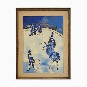 Circus - Original Öl auf Leinwand von Antonio Vangelli - 1970s 1970s