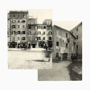 Piazza Montanara - Disappeared Rome - Two Rare Vintage Photos Early 20th Century Early 20th Century