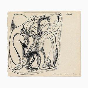 Studie für die Ermordung von Marat - Original China Tusche Zeichnung - 1968 1968