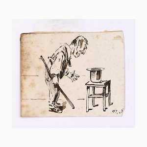 The Magician - Original Ink Drawing on Paper by H. Somm - Late 19th Century Late 19th Century
