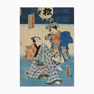 Kabuki Scene - Original Woodcut by Utagawa Kunisada - 1860 ca. 1860 ca.