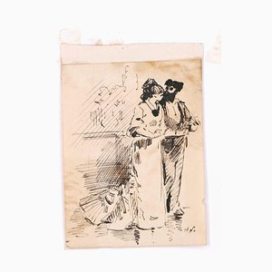 Flamenco Dancers - Original Ink Drawing on Paper by H. Somm - Late 19th Century Late 19th Century