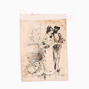 Flamenco Tänzerin - Original Federzeichnung auf Papier von H. Somm - Spätes 19. Jh. Ende 19. Jh