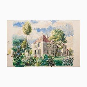 Homes - Original Watercolor on Paper by Emile Deschler - 1970s 1970s