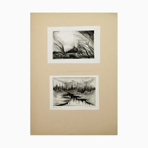 Two Lake Landscapes - Original Etching and Drypoint - 1970s 1970s