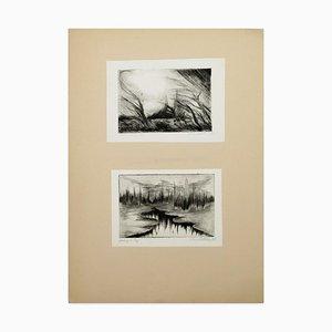 Two Lake Landscapes - Original Radierung und Kaltnadelradierung - 1970er 1970er Jahre
