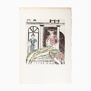 Unexpected Guests - Original Lithographie von A. Ruellan - 1970s 1970s