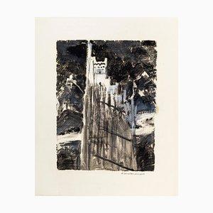 Abstract Shape - Original Tempera auf Papier von D. Bonvallet Philippon - 1970s 1970s