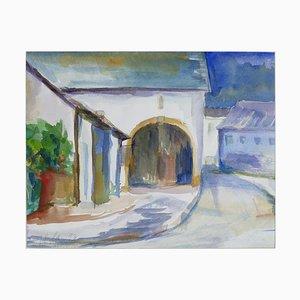 Bogen und Häuser - Original Aquarell von Armin Guther - 1993 1993