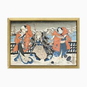 Scène de Théâtre Japonaise - Gravure sur Bois Originale par Utagawa Kunisada - 1860 ca. 1860 env.