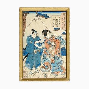 Kanpei and Okaru - Original Woodcut by Utagawa Kuniaki - 1862 ca. 1862