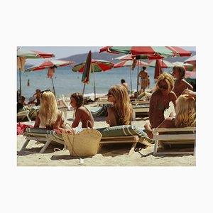 Saint-tropez Beach Oversize C Print Framed in White by Slim Aarons