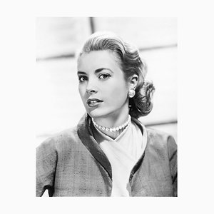 Grace Kelly in Jacket & Pearls Archival Pigment Print Framed in Black by Everett Collection