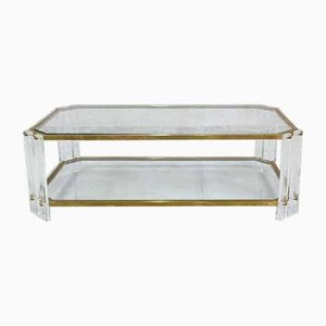 Vintage Italian Brass and Acrylic Coffee Table, 1970s