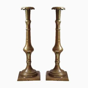 18th Century Georgian Brass Candleholders, 1780s, Set of 2