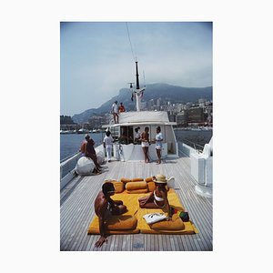 Scotti's Yacht Oversize C Print Framed in White by Slim Aarons