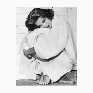 Grace Kelly Bundles Up in Her Robe Archival Pigment Print Framed in White by Bettmann
