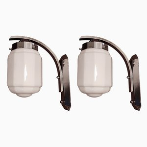 Geometrical Art Deco Wall Lights, 1920s, Set of 2