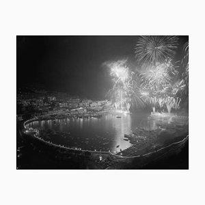 Fireworks At Monaco Archival Pigment Print Framed in White by Bettmann