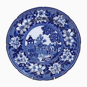 Assiette en Forme de Motif Elephant Bleu et Blanc en Faïence par John Rogers, 1830s