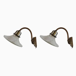 Mid-Century Brass & Glass Sconces, Set of 2