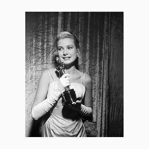 Grace Kelly Clutches Her Oscar Archival Pigment Print Framed in Black by Bettmann