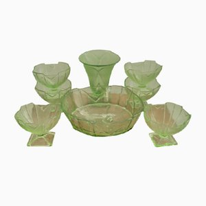 Art Deco Green Uranium Glassware, 1930s, Set of 8