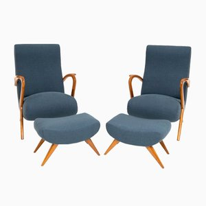 Mid-Century Armchairs with Footstools, Set of 4