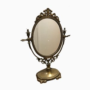 Brass Swivel Psyche Mirror, 1950s