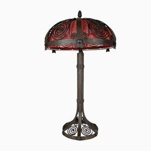 Große Antike Jugendstil Tischlampe aus Eisen
