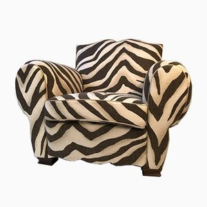 French Zebra Club Chair, 1950s